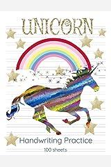 Unicorn Handwriting Practice: Mid Lined Handwriting Blank Workbook 8.5x11 Colorful Unicorn Paperback