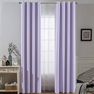 Yakamok Thermal Insulated Solid Ring Top Blackout Window Drapes-Blackout Curtains Panels for Bedroom,52