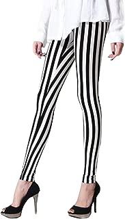 Women's Stretchy Horizontal/Vertical Back & White Striped Ankle Length Legging Pants
