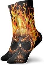 WEEDKEYCAT Skull Fire Head Adult Short Socks Cotton Classic Socks for Mens Womens Yoga Hiking Cycling Running Soccer Sports