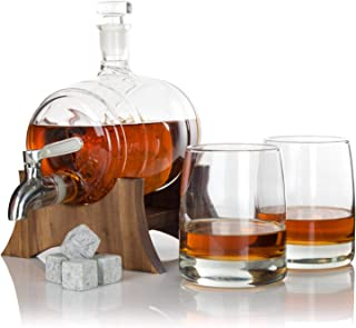 Atterstone Barrel Whiskey Decanter Set, Full Set with 2 Whiskey Glasses, Custom Decanter Stand, 9 Whiskey Stone Set, Stainless Steel Dispenser and Funnel
