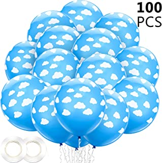 100 Pieces 12 Inch Blue Cloud Latex Balloons with 2 Rolls Plastic Ribbons Mid Blue with Clouds Matte Balloons for Boys Girls Birthday Party Baby Shower Decoration (Style 1)