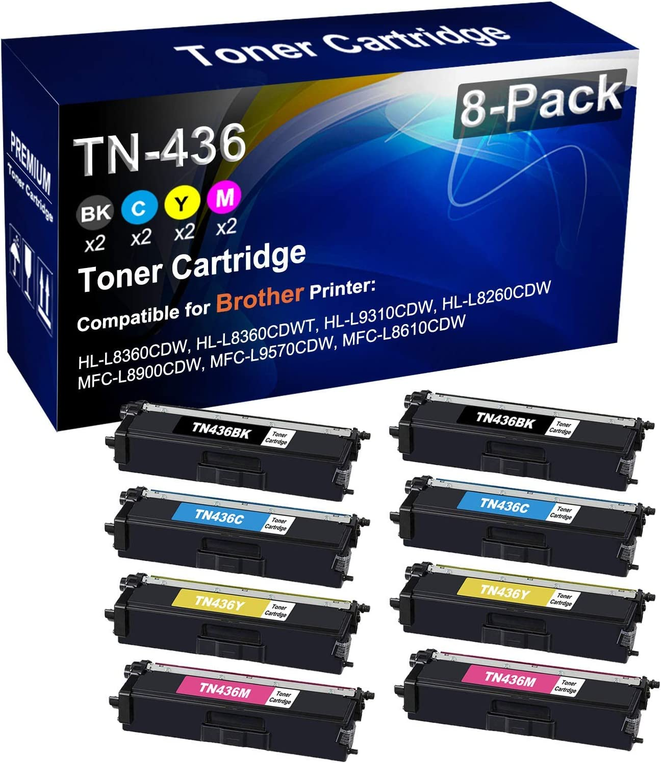 8-Pack (2BK+2C+2Y+2M) Compatible High Yield TN-436 TN436 Laser Printer Toner Cartridge use for Brother HL-L8360CDW HL-L8360CDWT MFC-L8900CDW MFC-L9570CDW Printer