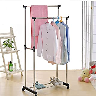 Harikrupa Mall Stainless Steel Double Pole Portable Clothes Rack Foldable Garments Hanging Stand Adjustable Laundry Drying...