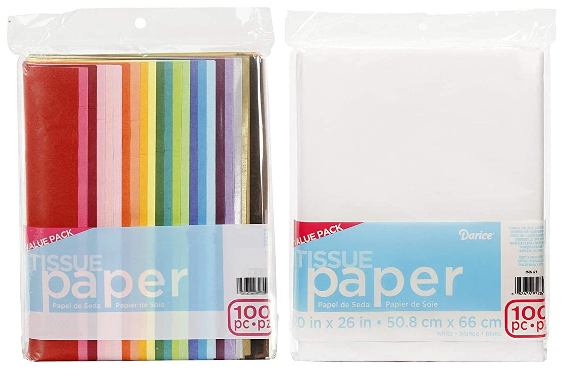 ArtVerse Premium Quality Tissue - 2-Pack Bundle - 100 Sheets Assorted Colors - Plus - 100 Sheets White - All 20 x 26 inch