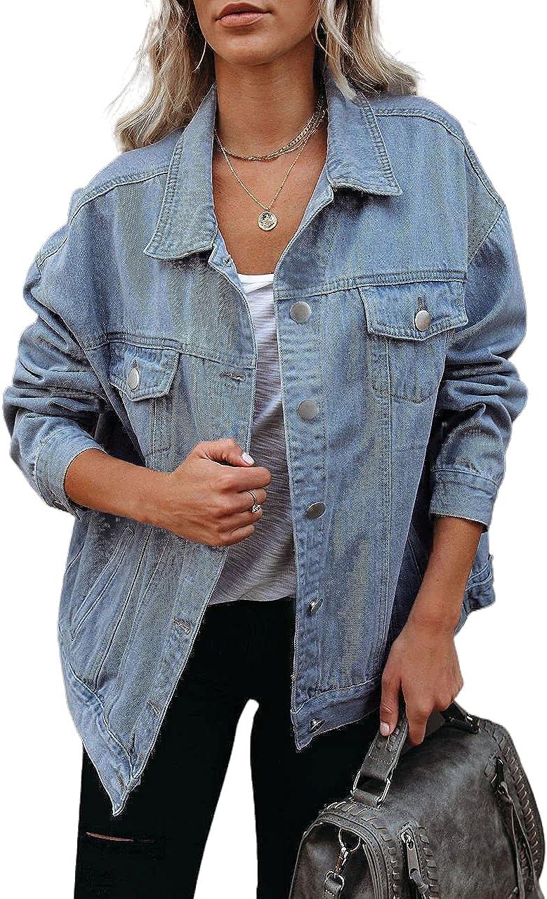 Women's Oversized Vintage Denim Jean Jacket Casual Long Sleeve Button Down Boyfriend Jean Jacket Denim Trucker Jacket Coat