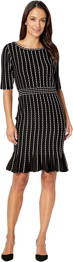 Vertical Stripe Flounce Skirt Sweater Dress