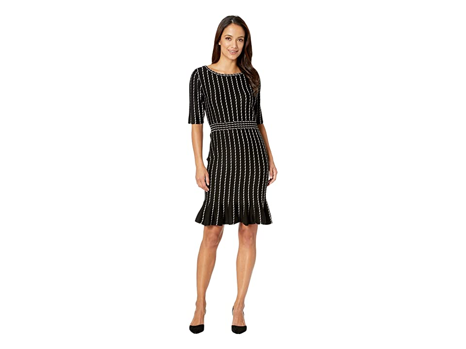 Taylor Vertical Stripe Flounce Skirt Sweater Dress (Black/Champagne) Women