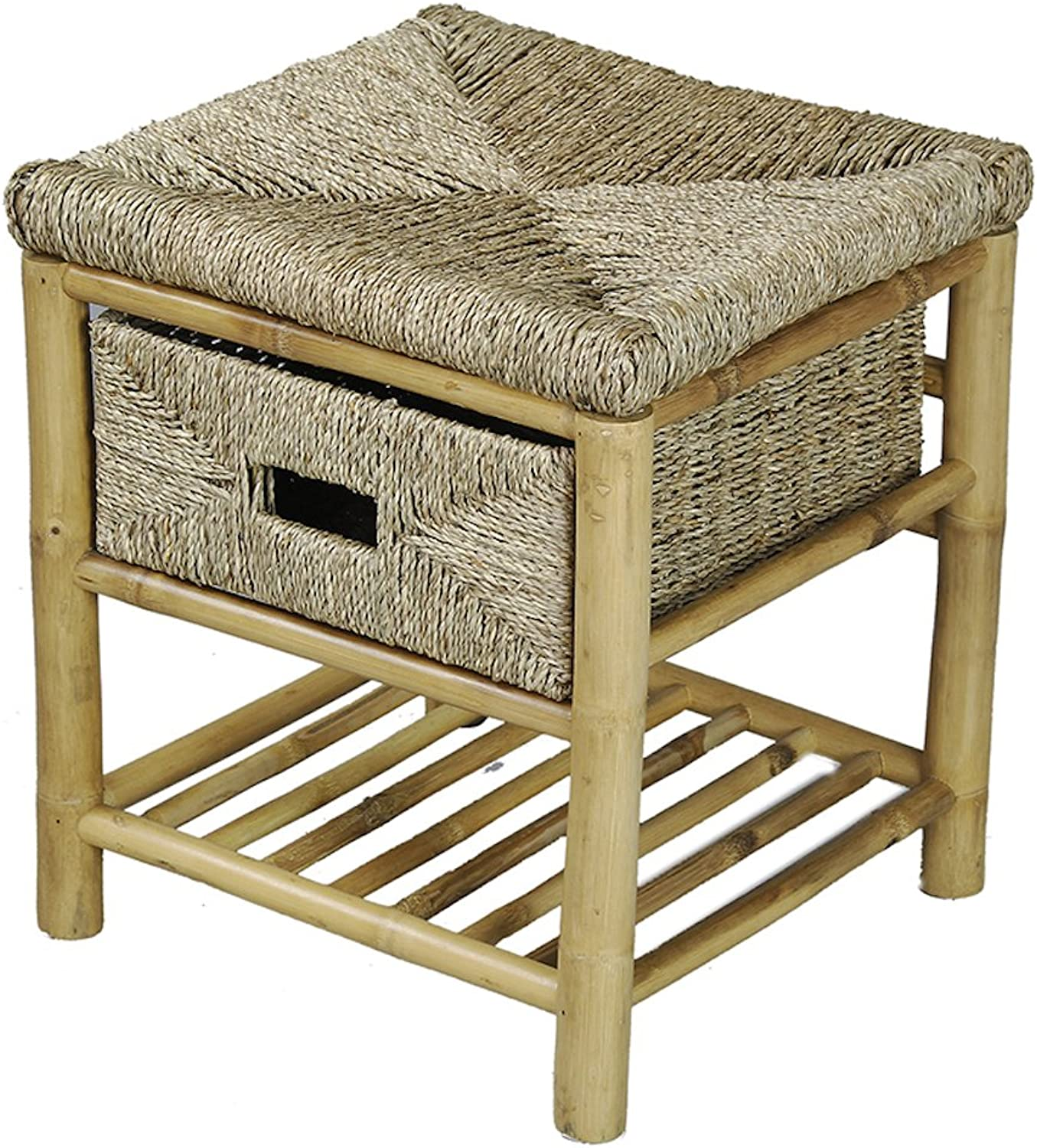 Heather Ann Creations Single Drawer Bamboo Open Frame Bench with Seagrass Weave and Shelf, 18.1-Inch, Natural