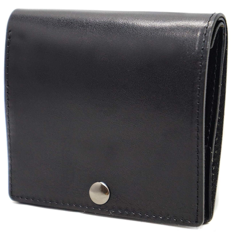 戻すヤギはさみ極上イタリア製レザー 薄型 本革 二つ折り財布 コンパクト ブラック ME0238_c1