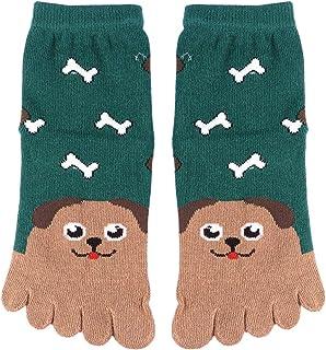LUOEM Niños Algodón Calcetines de Cinco Dedos del pie Tubo Bordado de Animales de algodón Calcetines del Dedo del pie