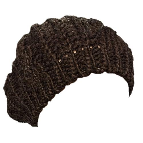 18edd521da8 Boolavard Lady Winter Warm Knitted Crochet Slouch Baggy Beret Beanie Hat  Cap TM - Black