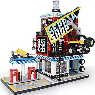 Briques de construction pour maison d'atelier automobile avec station-service, pompes de distribution et plaque de base, c...