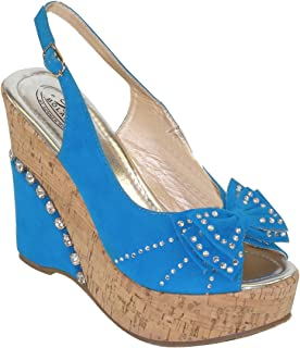 Lady Rhinestone Studded Wedge Platform Slingback Woman Sandals DW1180 Blue