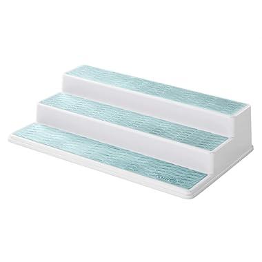 Copco 3-Tier Spice Pantry Kitchen Cabinet Organizer, 15-Inch, White/Aqua