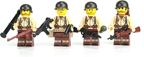 Battle Brick US Army WW2 Tan Soldiers Complete Squad (S41) Custom Minifigures