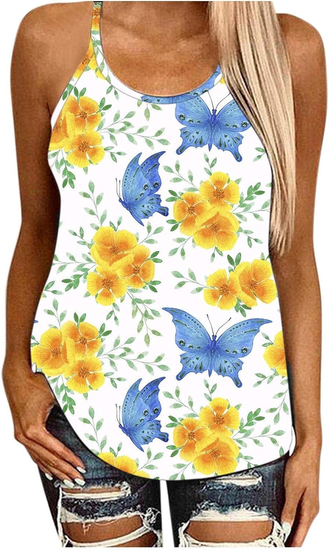 POLLYANNA KEONG Sleeveless Tops for Women Summer Loose Fit,Womens Tank Tops Open Back Hallow Out Halter Neck Shirts
