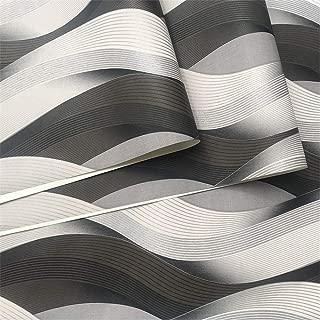 YJGYMZ Black Grey White Metallic Texture 3D Wave Wallpaper Vinyl Quality Modern Luxury Wall Paper Roll (Dimensions : 10mx53cm)