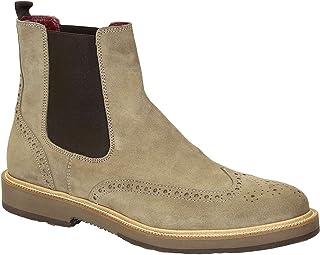Leonardo Shoes Stivaletti Chelsea Punta Brogue in Scamosciato Beige ed Elastico Marrone - Codice Modello: U581 PE Crosta i...
