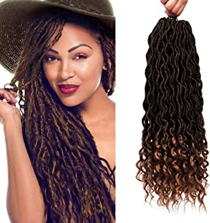 6 Packs/Lot Crochet Hair Curly Briads Wavy Faux Locs with Curly Ends 24 Strands/Pack Goddess Locs Soft Synthetic Crochet Hair Braiding 18 Inches Ombre Dark Blonde Hair Extensions