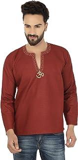ملابس مابل رجالية قصيرة كورتا قطن أزياء قميص مطرز الملابس الهندية