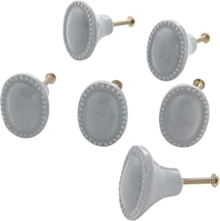 Dritz Home 47010A Ceramic Vintage Oval Knob, Dove Grey (6-Piece)