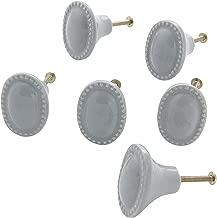 Dritz Home 47010A Ceramic Vintage Oval Knob, Dove Grey (6-Piece)
