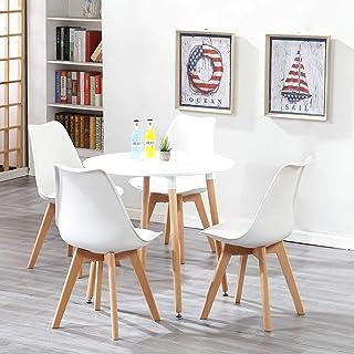 Uderkiny Ensembles pour Salle à Manger-A Table à Manger Ronde et 4 chaises, Plateau en MDF et des chaises de Style Nordiqu...