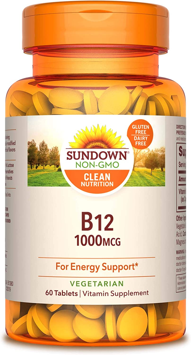 Sundown Gifts Vitamin B-12 High Potency 1000 60 Pack mcg of Tablets Inventory cleanup selling sale