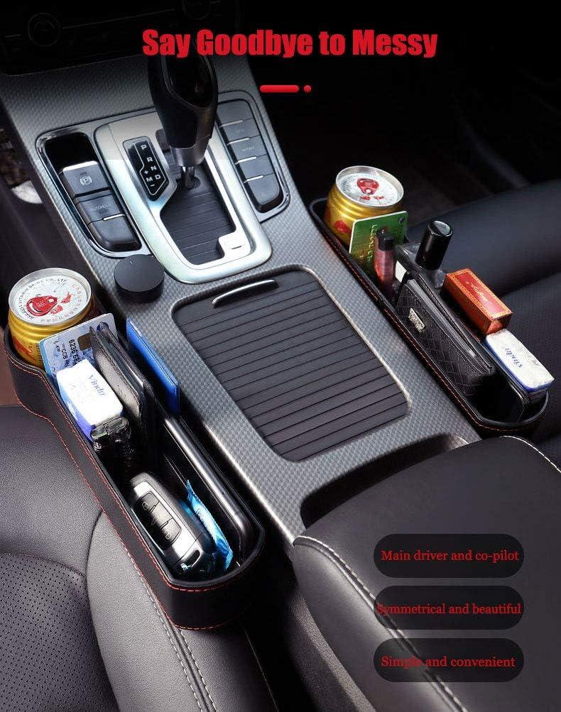 Universal Seat Storage Gap Filler Car Seat Gap Organiser Side Gap Pocket PU Leather Car Tidy Organiser Front Seat Catcher Storage with Coin /& Cup Holder Car Organizer Storage Box