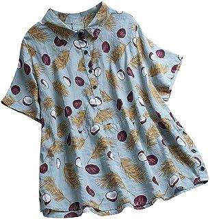 NANTE Blusa feminina casual solta manga curta estampa de pena lapela botão camiseta regata feminina camisetas camisetas fe...