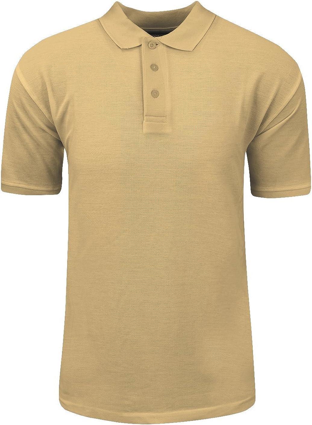 Shaka Wear Men's Polo Shirt – Classic Pique Short Sleeve Collared Solid Casual CVC Polyester Top Regular Big Size S~5XL