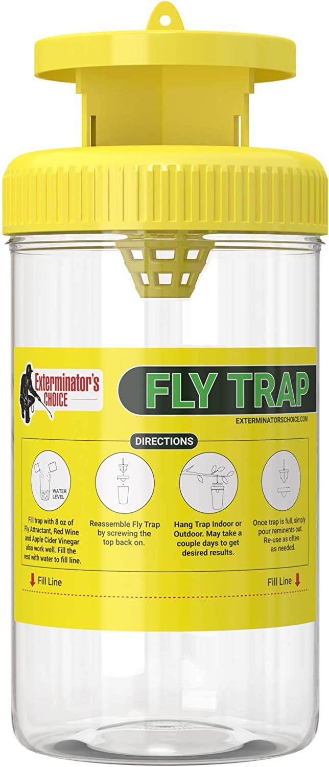 Exterminator's Choice Fly Trap | Keep Flies Out of Your Home | Just Add Apple Cider or Red Wine Vinegar