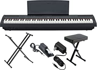 Yamaha P125B 88-Key Weighted Action Digital Piano with Sustain Pedal, Power Supply, Double-Braced X-Style Keyboard Stand, and Padded X-Style Piano Bench