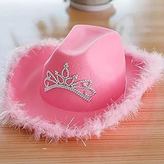Vrouwen Roze Cowboyhoed Brede Rand Hoed Cowgirl Cap Met Tiara Feather Rand Westerse Stijl Meisjes Kostuum Accessoires Fees...