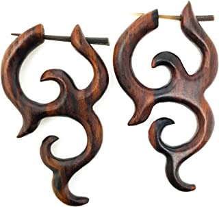 UMBRELLALABORATORY Tribal Organic Wooden Earrings Fake Gauges Sold As Pair Bohemian Jewelry Spiral Tattoo Faux Plugs tapers