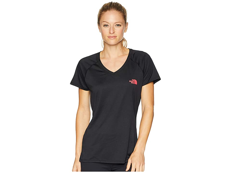 The North Face Short Sleeve Reaxion V-Neck Tee (TNF Black/Atomic Pink) Women