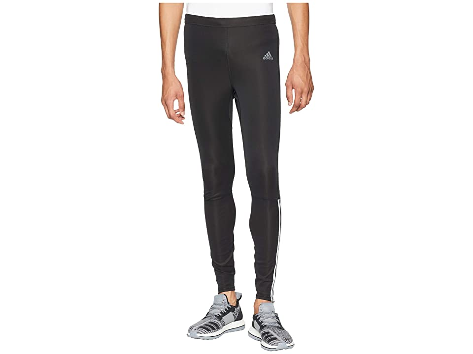 adidas Running 3-Stripes Run Long Tights (Black/White) Men