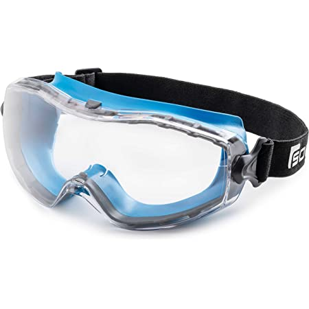 Solid. Safety Goggles that fit Perfectly | Protective Eyewear with Anti-Fog, Anti-Scratch and UV-Protective Lenses | Ideal Safety Glasses for wearing Over Prescription Glasses | Clear Lens | Blue