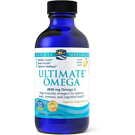 Nordic Naturals Ultimate Omega Liquid, Lemon Flavor - 2840 mg Omega-3-4 oz - High-Potency Omega-3 Fish Oil Supplement with EPA & DHA - Promotes Brain & Heart Health - Non-GMO - 24 Servings