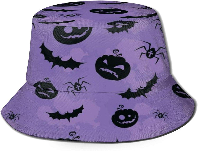 Purple Halloween Bat Pumpkin Bucket Hat Pa security Weekly update Summer Sun Unisex