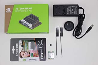 NVIDIA Jetson Nano Starter Kit with Jetson Nano developer kit, 64GB UHS-3 microSD card with Jetson Nano image, 5V 4A DC power supply, Intel WiFi module w/antenna for DeepLearning AI development