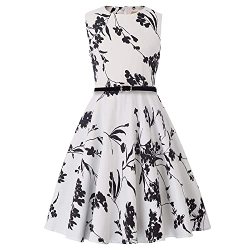 a472808d2919 Kate Kasin Girls Sleeveless Vintage Print Swing Party Dresses 6-15 Years