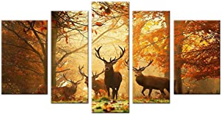 Deer Decor Wildlife Hunting Picture Wall Art Canvas Prints Large 5 piece Country Themed Brown Artwork for Living Room Bedroom Bathroom