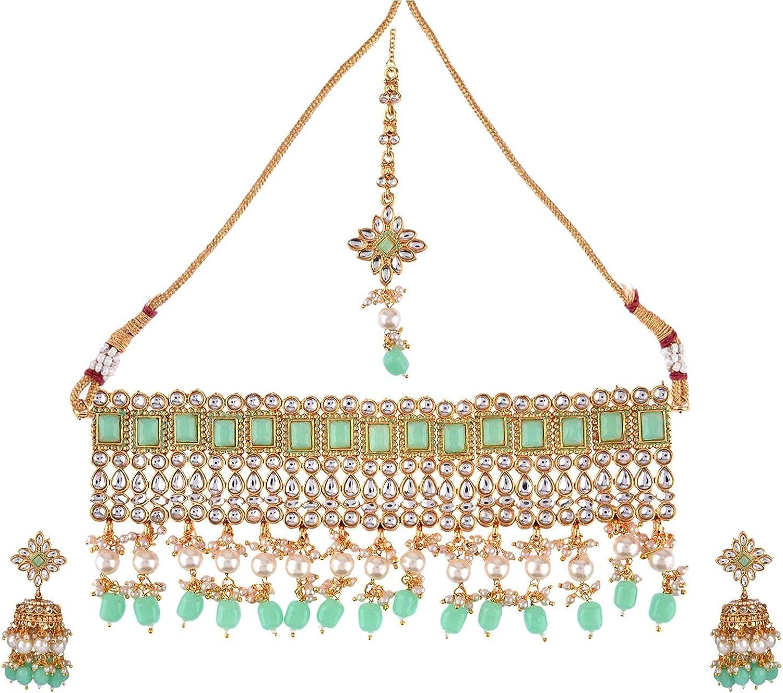 Efulgenz Indian Jewelry Choker Necklace Maang Tikka Earrings Bollywood Wedding Crystal Kundan Necklace Earrings Head Chain Set