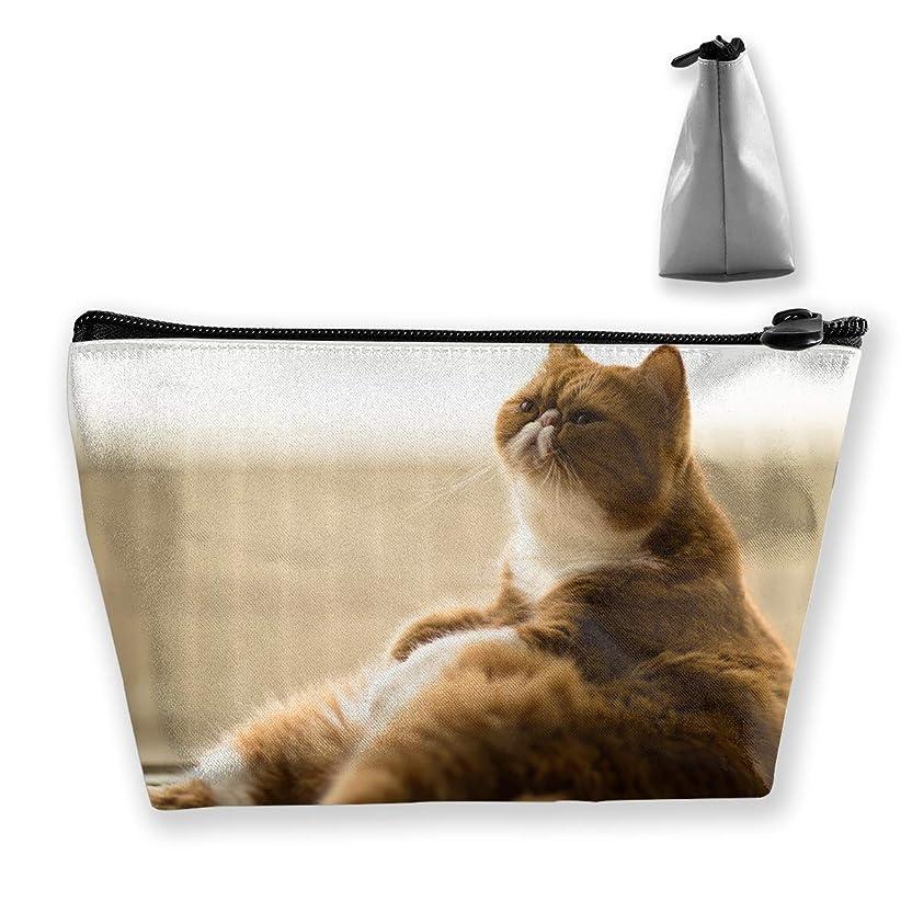 想起統計リハーサル台形 レディース 化粧ポーチ トラベルポーチ 旅行 ハンドバッグ 太る猫 コスメ メイクポーチ コイン 鍵 小物入れ 化粧品 収納ケース