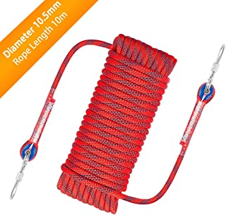 Outdoor Climbing Rope, 10.5 mm Diameter Outdoor Hiking Accessories High Strength Cord Safety Rope, 10M (32ft) Static Rock Climbing Rope Fire Escape Safety Rappelling Rope w/Carabiner