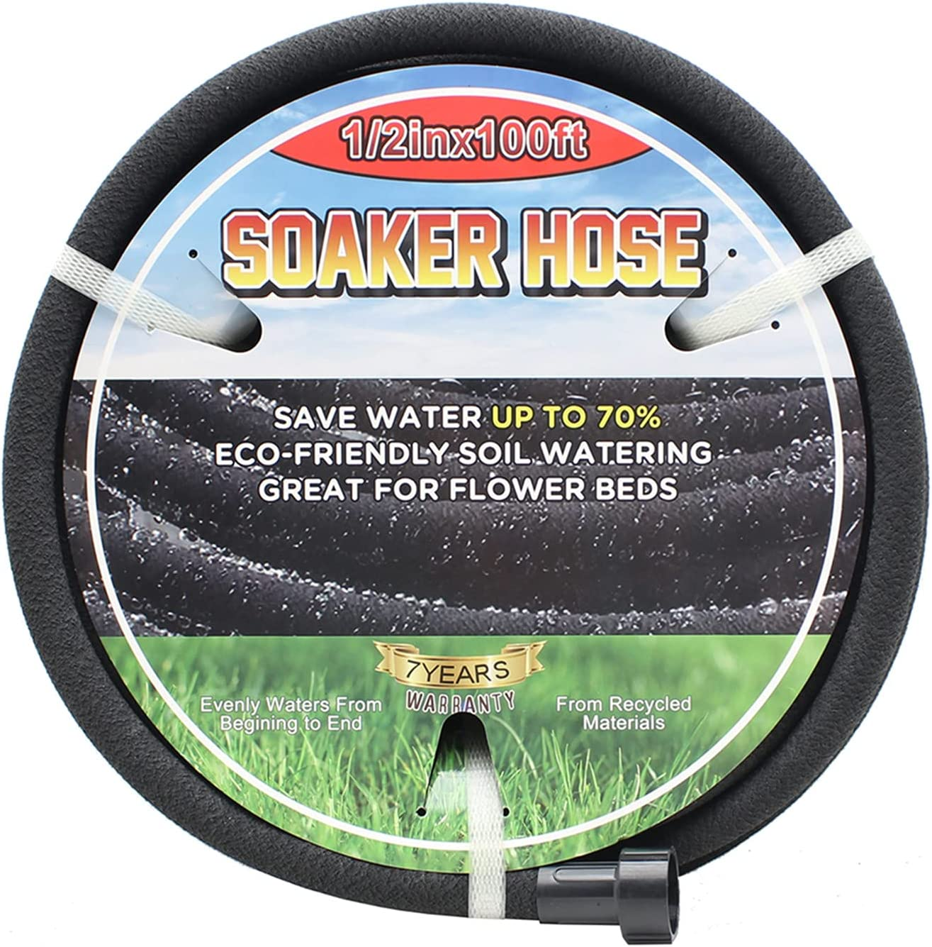 Meigesi 1/2in Soaker Hose -Garden Hose 100FT Garden Water Hose Save 70% Water- Drip Hose for Lawn- Great for Garden Flower Beds - Perfect Delivery of Water