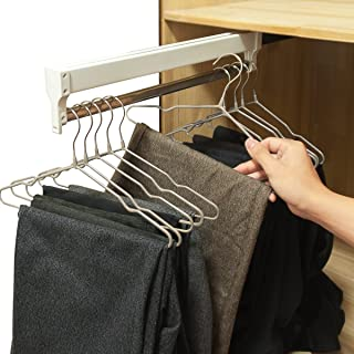 Pull-Out Closet Valet Rod Adjustable Wardrobe Clothing Rail AINGER(17.7 inches)
