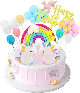 تزیین کیک اسب شاخدار تولد ، تزیینات کیک بادکنکی رنگین کمان شیرینی کاپ کیک برای دختران لوازم مهمانی عروسی تولد اسب شاخدار